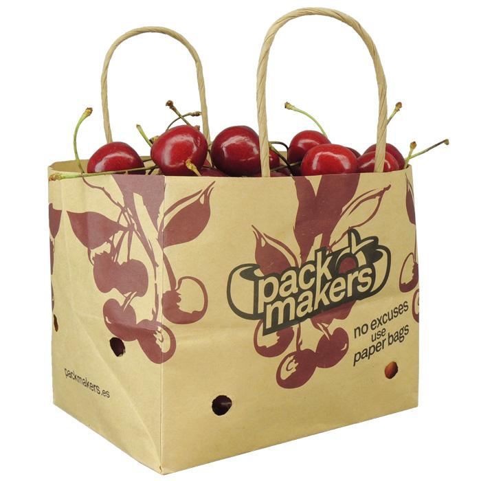 Bolsa de papel Wet strenght con ventilación para fruta de hueso